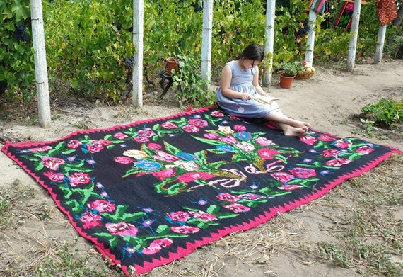 Large Wool Romanian Rug Black Background With Beautiful Etsy