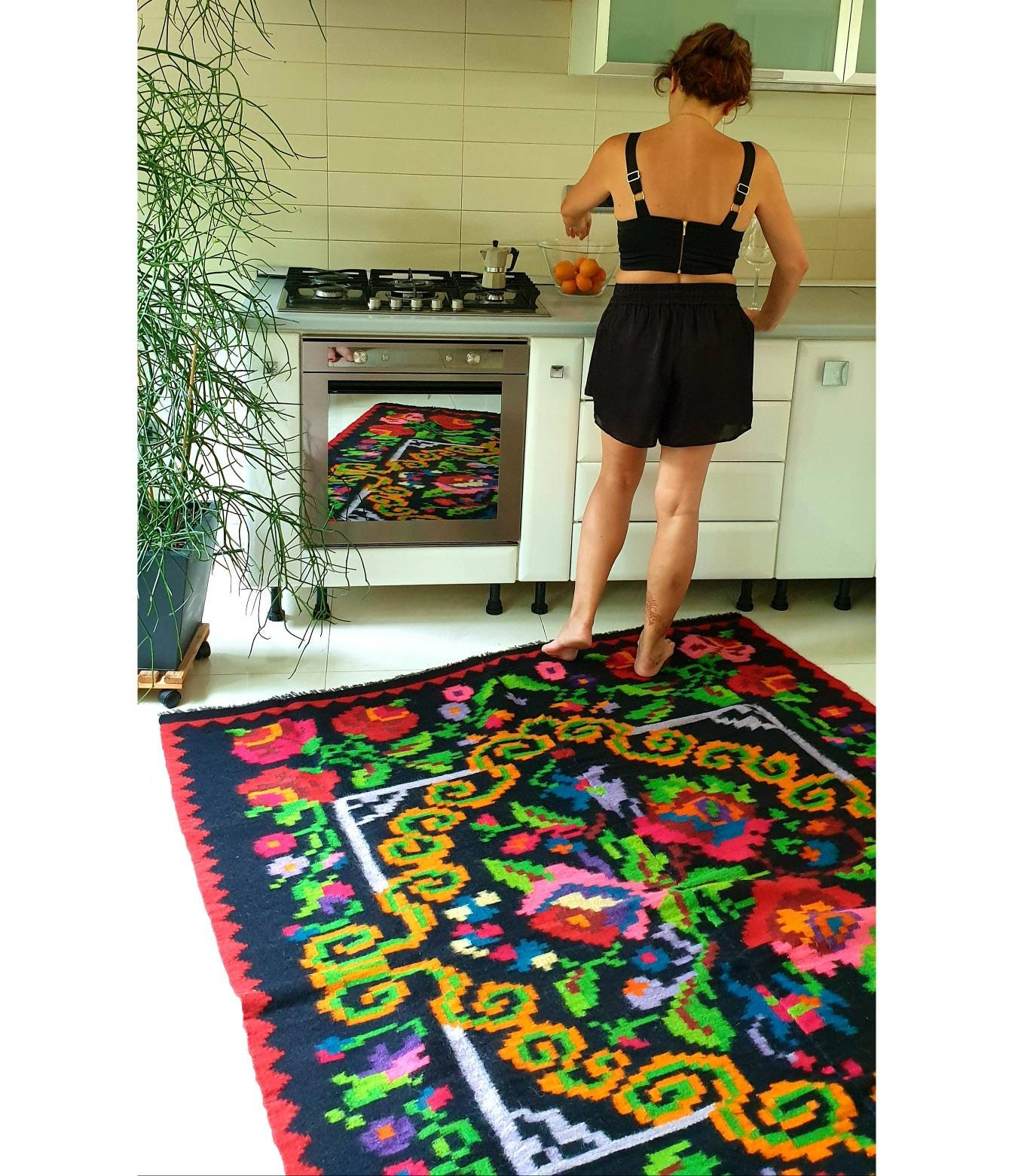 Floral Kilim Big Size For A Livingroom Handwoven Romania Etsy