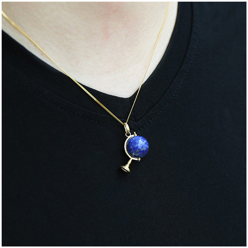 Real 925 Sterling Silver Natural Lapis Handmade Fine Jewelry Fashion Cute Globe Pendant without Necklace for Women