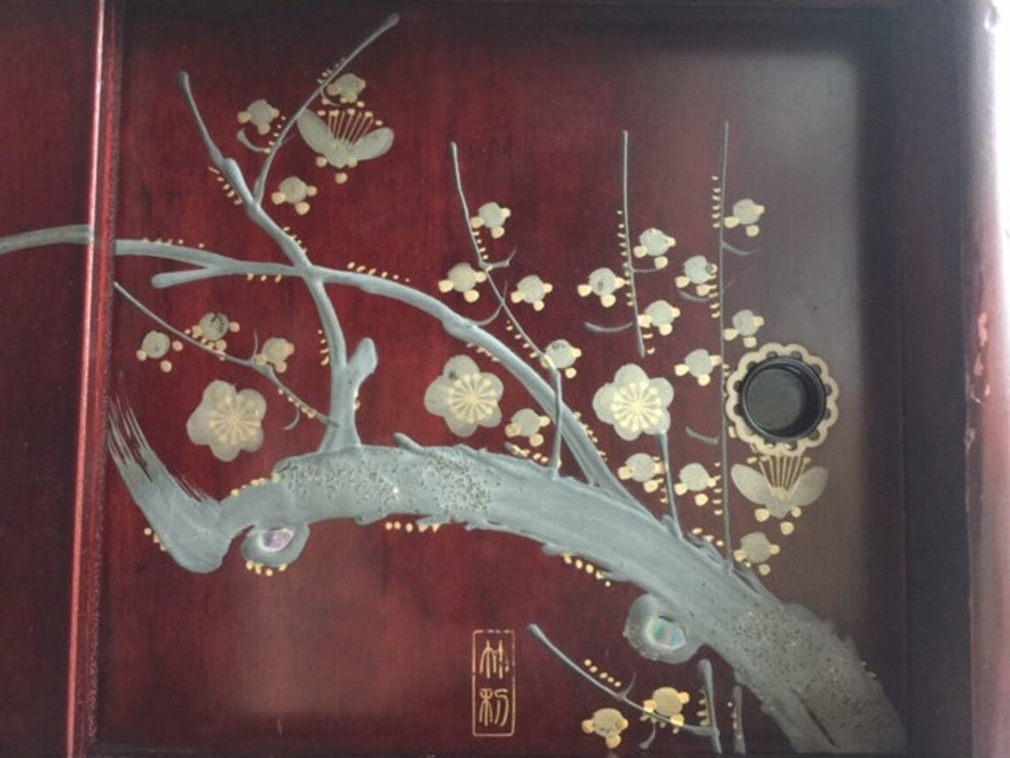 Japanese Small Cabinet with Lacquered Plum tree Drawing for Tea set 11 inch
