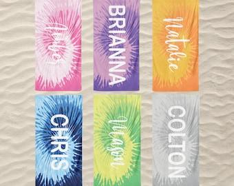 Personalized Tie Dye Beach Towels , Kids Beach Towel with Name, Custom Tie Dye Pool Towels