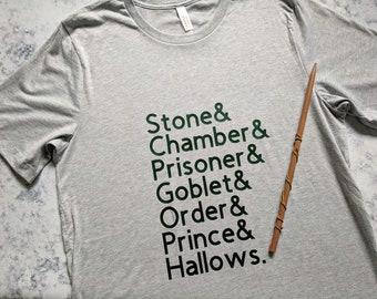 c6b924d3 Stone Chamber Prisoner Goblet Order Prince Hallows-Harry Potter Book T-Shirt-House  Colors