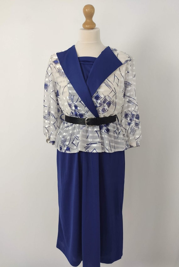 80's vintage Blue white midi dress Pemplum dress C