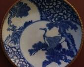 Igezara Charger Vintage Porcelain Dishes, Imari Blue and White Meiji Period 1868- Heavy Porcelain with Crane Motif c.1890 39 s