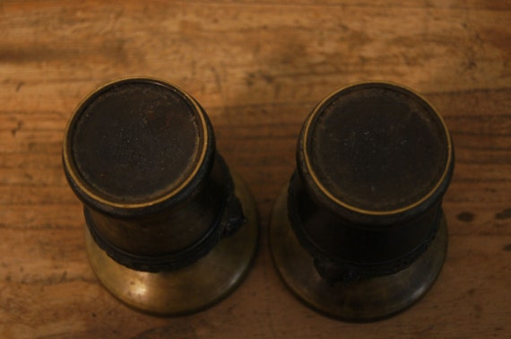 """Japanese 1.5/"""" H Brass Candle Holders Buddhist Butsudan//Made in Japan Set of 2"""
