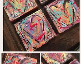 Chunky Heart Paintings