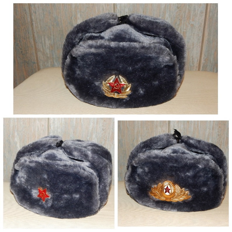 ALL SIZES!!! RUSSIAN GREY MILITARY WINTER USHANKA HAT WITH SOVIET BADGE!!
