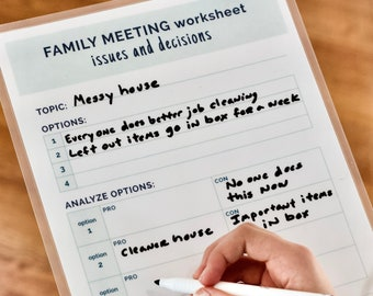 Family Meeting Toolkit, Family Weekly Planner, PDF Printable,