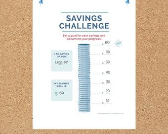 Kids Savings Tracker, Kids Savings Goal Chart, Teach Kids To Save Money, Kids Savings Challenge, Printable