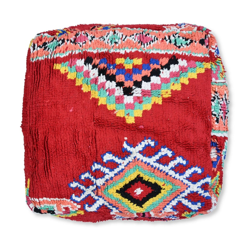 100/% Wool and Cotton Multicoloured K158 Handwoven Vintage Berber Kilim Pouf