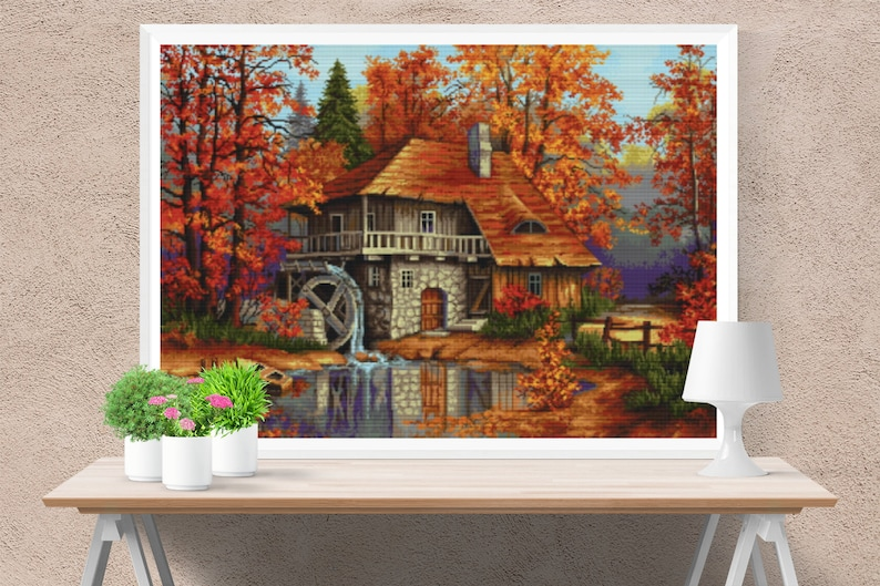Autumn landscape | home cross stitch pdf house pattern xmas cross stitch x  stitch pattern houses cross stitch christmas pattern cross stitch