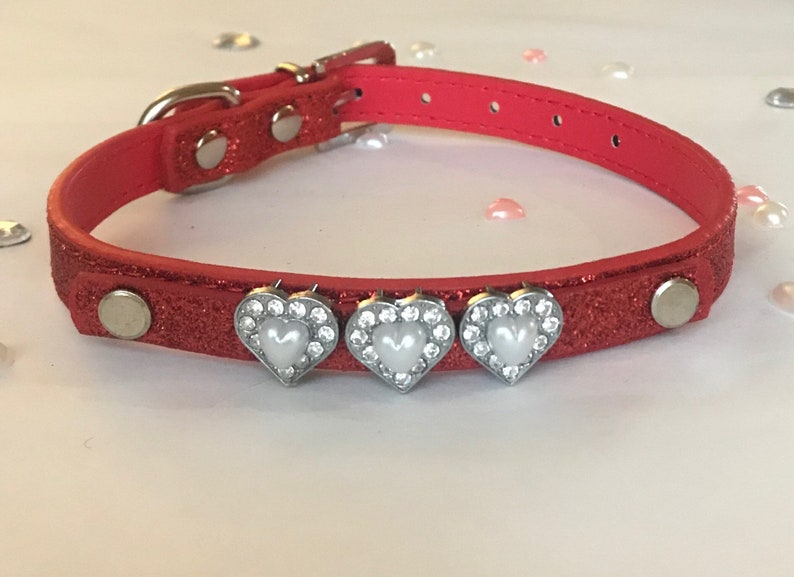 pearl pink white heart silver diamant\u00e9 silver hair slide clip with  pink red glitter heart dog cat puppy kitten pet collar size xssmall