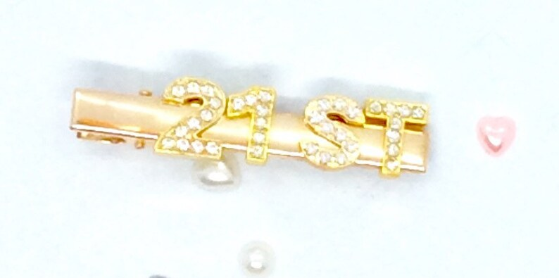 21st 30th 40th birthday age hair slide clip silver blackgold luxurious goldsilver personalised custom name slogan word rhinestone  charms