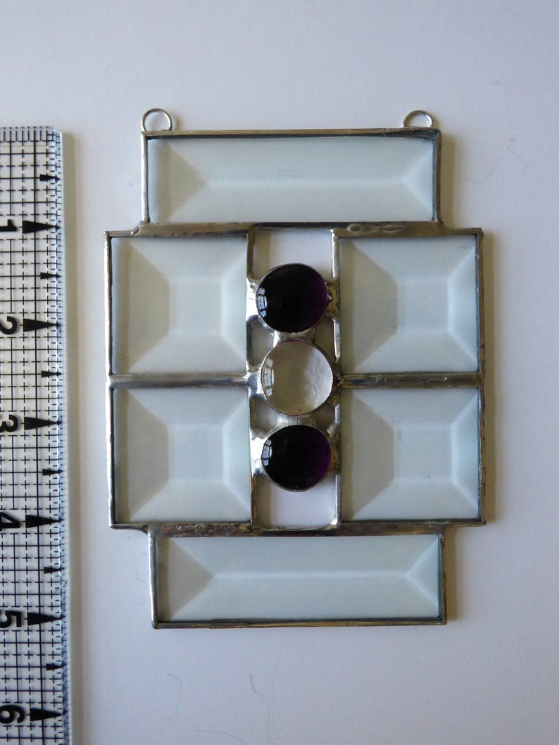 Beveled Glass Sun Catcher with Light Purple Glass Nuggets
