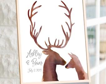 Deer Puzzle Guest Book Alternative Havoly Winter Wedding Buck and Doe Guestbook Wooden Puzzle Deer