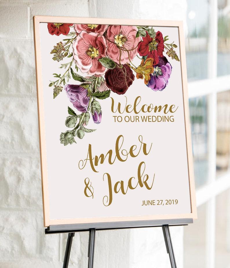 Custom Wedding Sign Floral Wedding Sign Wedding Ceremony Sign Welcome to our wedding sign Wedding Decor