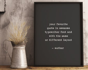 Custom Quote Print Framed Unframed Sign Wall Art Poem Song Lyrics Personalized Gift Printed Typewriter Text Mothers Day Gift