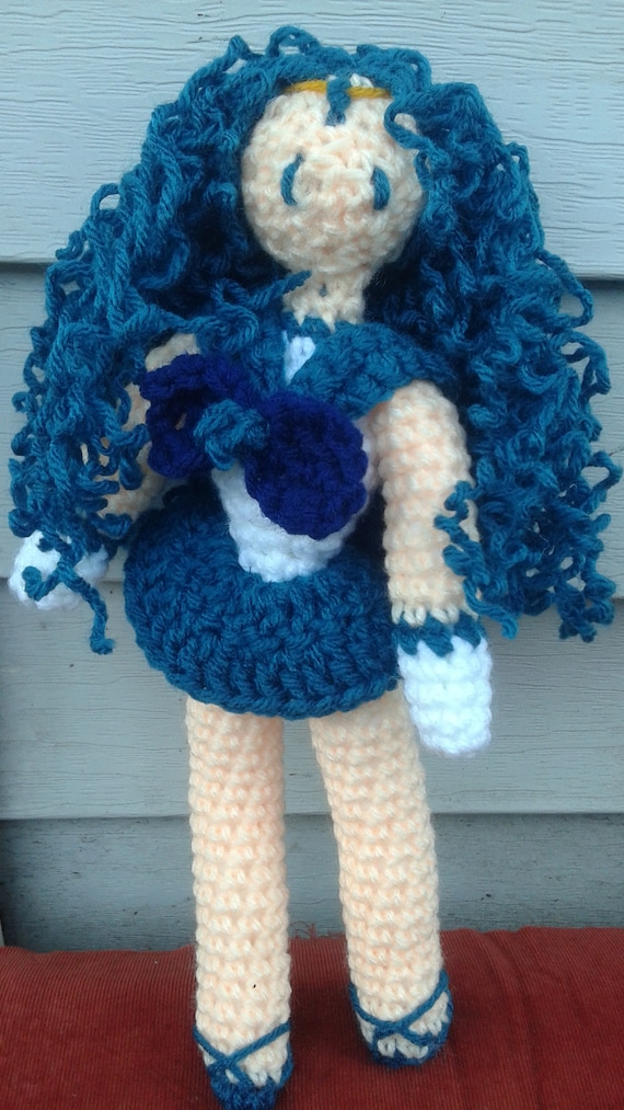 Sailor Neptune Michiru Amigurumi Crocheted Doll Plush Plushie Etsy
