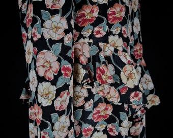 ef08826a84 Leslie Fay Floral print Puff sleeves Basque Dress Vintage 80s