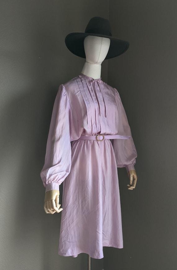Vintage lightweight silk Lilac midi Dress early 8… - image 6