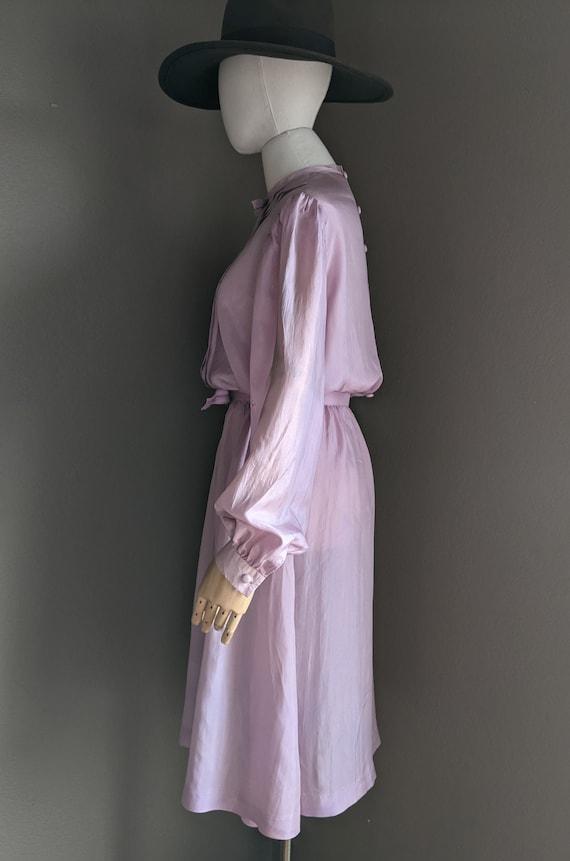 Vintage lightweight silk Lilac midi Dress early 8… - image 7
