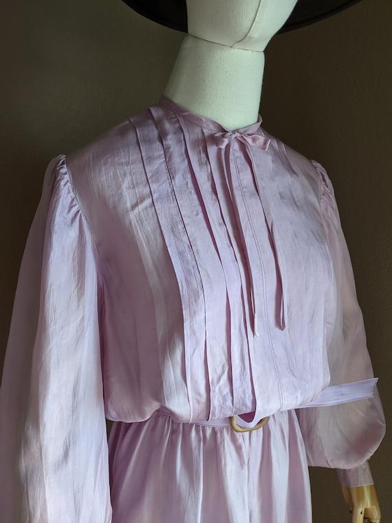 Vintage lightweight silk Lilac midi Dress early 8… - image 8
