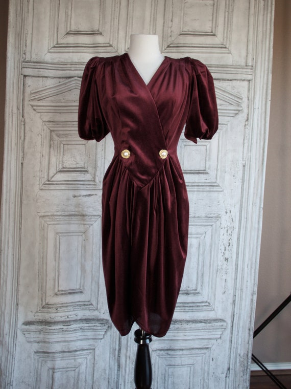 Vintage velveteen wrap effect Burgundy dress Puff