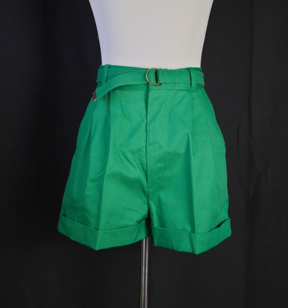 Vintage short Green tailored Shorts 80s High waist