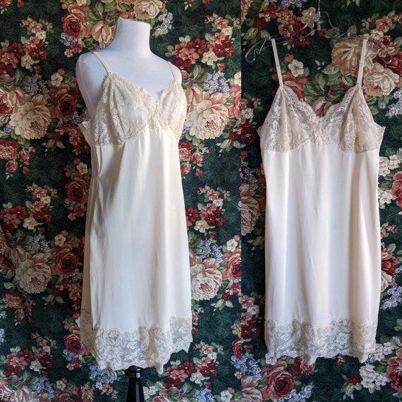 Vintage 60s Wonder Maid Full Length Ivory Dress Slip Lace Trim Lingerie 34
