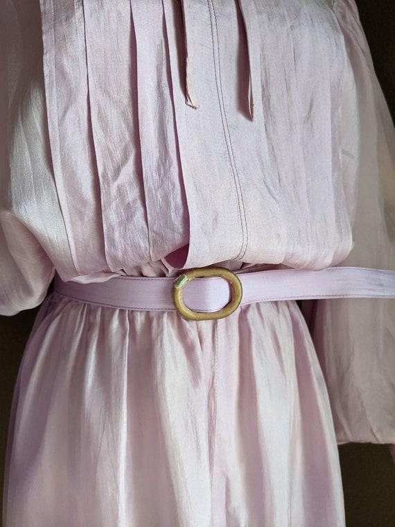 Vintage lightweight silk Lilac midi Dress early 8… - image 9