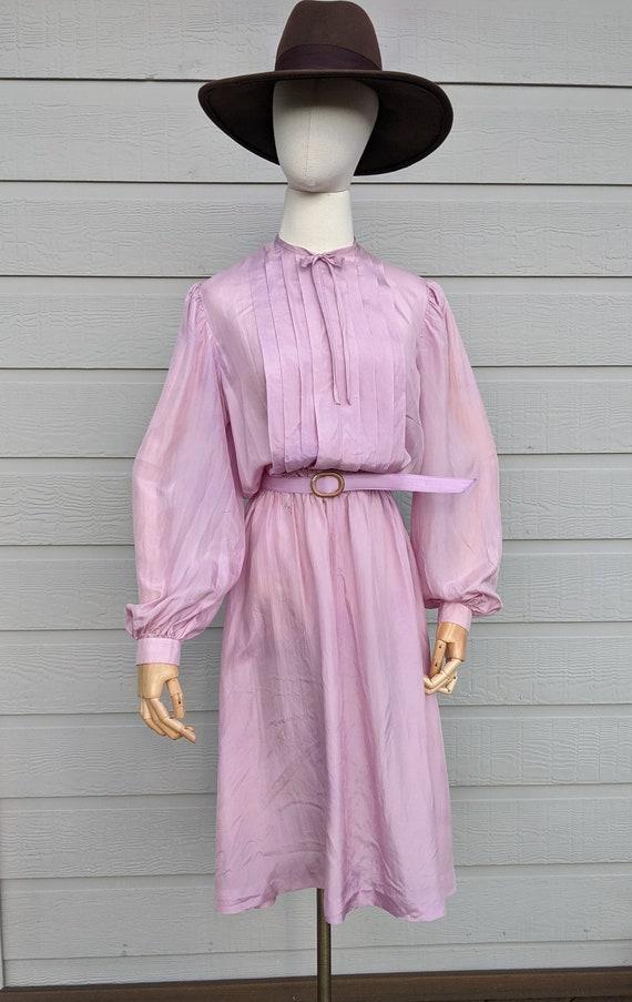 Vintage lightweight silk Lilac midi Dress early 8… - image 2