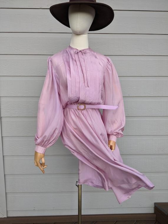 Vintage lightweight silk Lilac midi Dress early 8… - image 3