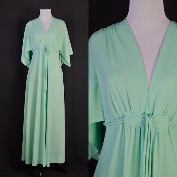 Vintage mint green maxi Dress 70s Angel sleeves Su