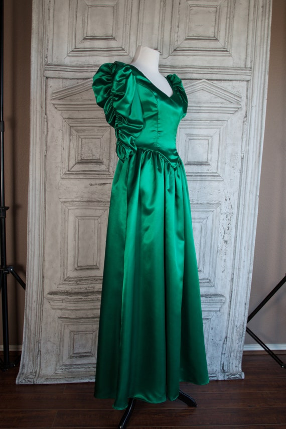Vintage Dress Emerald Green Gold Embroidered Spaghetti Strap Shawl Corset Lace Up Maxi Bridesmaid Evening Gown Medium