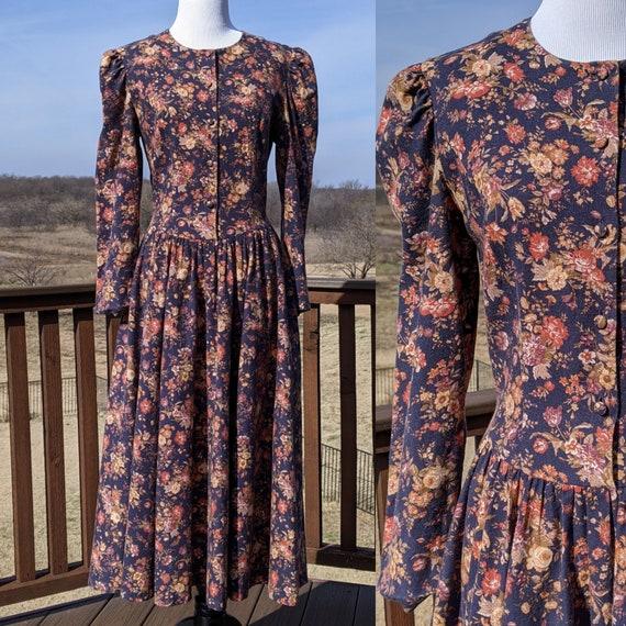 Vintage Laura Ashley peasant prairie midi Dress 80
