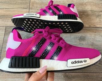 pretty nice f6e6b eaed3 Swarovski Crystal Women s Adidas Originals NMD R1 Vivid Pink   Shock Pink  Bling Sneakers Shoes