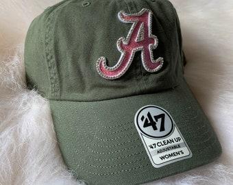 64f13571e31 Swarovski Crystal Glitta  47 Alabama Crimson Tide NCAA Women s Moss Green    Pink Bling Cap Hat