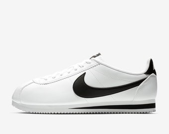 86b3dd46cac8 Swarovski Crystal Women s Nike Classic Cortez White   Black Leather Bling  Sneakers Shoes