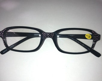+3.50 great gift Trendy and chic and fun Super stylish black frames with red arms and gold polla dots One of a kind Reading Glasses