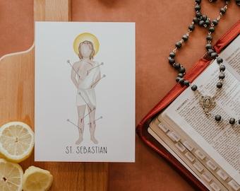 Saint Sebastian   Saint Print   Saint Card   Catholic Gift
