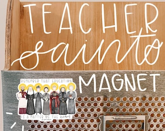Teacher Saints Magnet // Saint Magnet // Saint Decal // Catholic Magnet // Catholic Gift