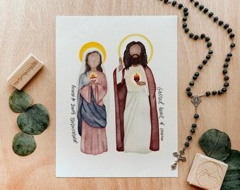 Sacred AND Immaculate Hearts   Saint Card   Saint Print   Catholic Gift