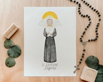 Saint Catherine Laboure   Saint Card   Saint Print   Catholic Gift