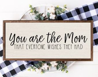 Mom Wood Sign Mothers Day Gift From Kids Son Daughter Mum Birthday