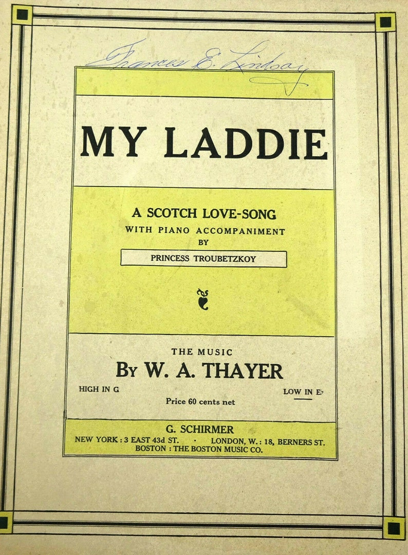 My Laddie Scotch Love Song Vintage Sheet Music 1905 image 0