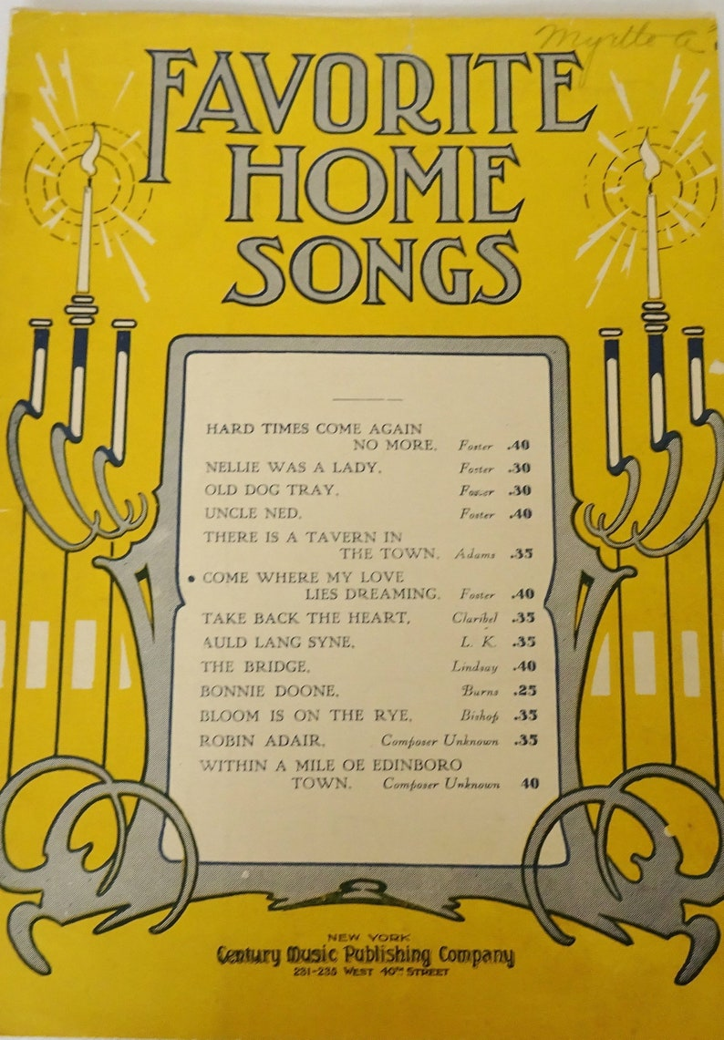 Come Where My Love Lies Dreaming Vintage Sheet Music Stephen image 0