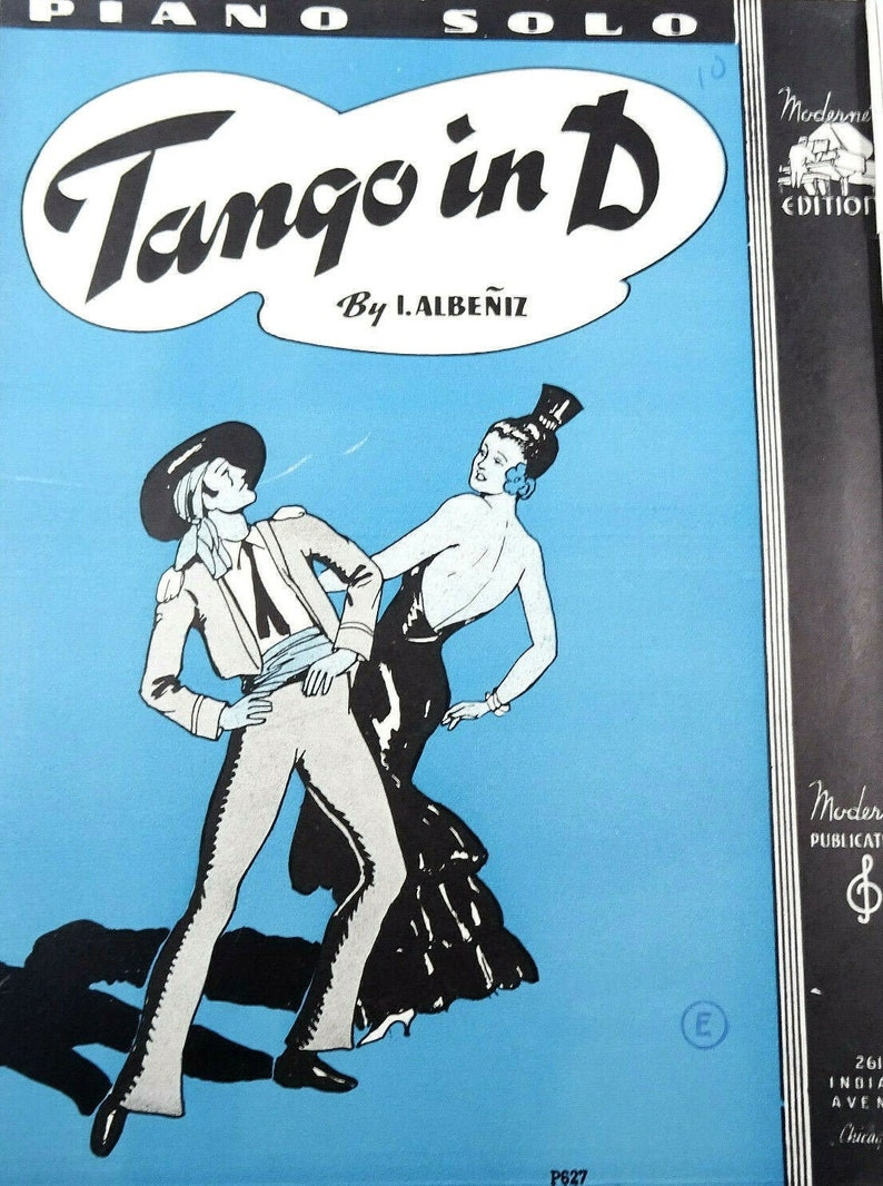Tango In D Piano Solo Vintage Sheet Music 1940 Isaac Albeniz image 0