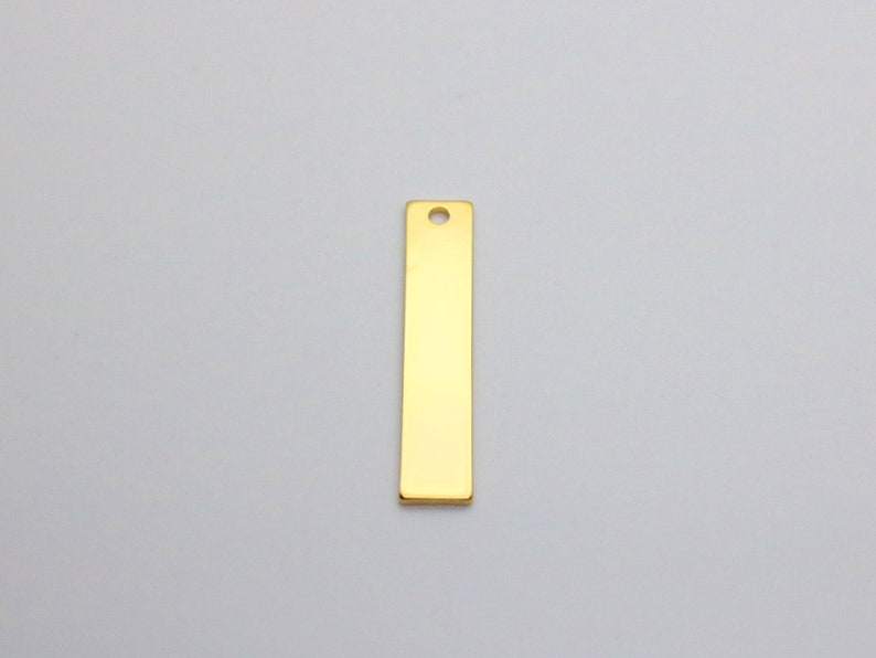 20pcs Gold Plated Stamping Tag 16K Gold Plated Vertical Bar Blank Stamping Pendant PKG05 36x7mm Stamping Gold Bar Pendant