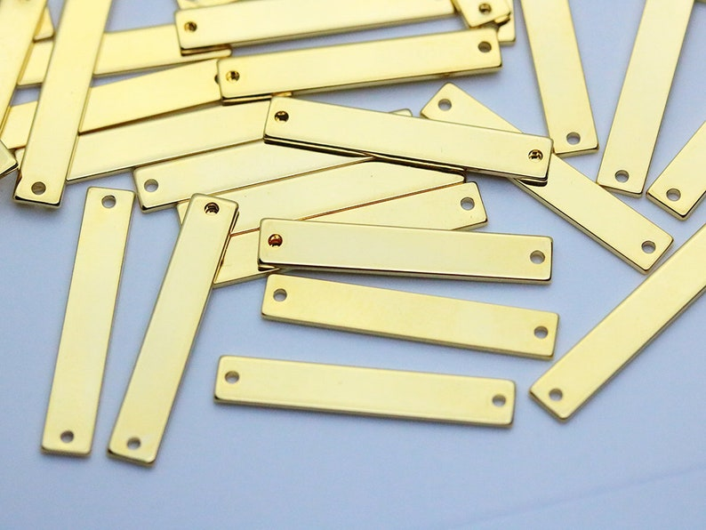 20pcs 30x5mm Personalized Stamping Blank Bar Gold Stamping Tag 2 Holes Stamping Pendant Nickel Free PKG04 Gold Plated Bracelet Bar