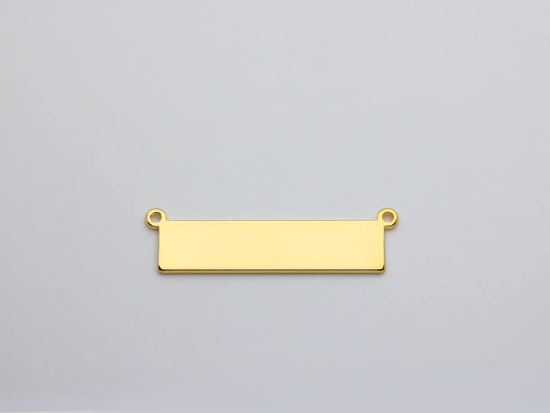 2 Holes Stamping Blanks Pendant 5pcs Stamping Necklace Connector 33x8mm Personalized Bar Charm PKG12 Gold Plated Horizontal Blank Bar